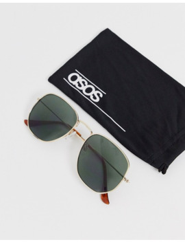 asos-design-angular-metal-frame-sunglasses-with-g15-lens-in-gold by asos-design
