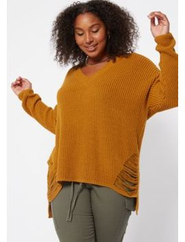 plus-mustard-distressed-high-low-sweater by rue21