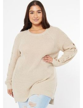 plus-heathered-oatmeal-cable-knit-sleeve-high-low-sweater by rue21