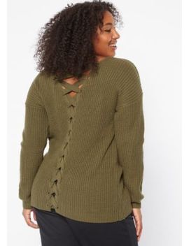 plus-olive-v-neck-lace-up-back-sweater by rue21
