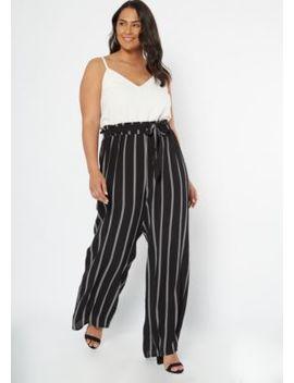 plus-black-striped-sleeveless-paperbag-waist-jumpsuit by rue21