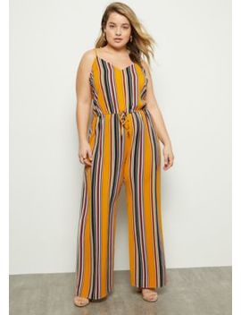 Plus Mustard Striped Sleeveless Cinched Jumpsuit by Rue21