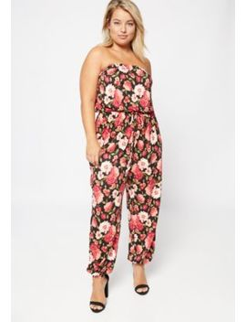 Plus Black Floral Print Super Soft Strapless Jumpsuit by Rue21