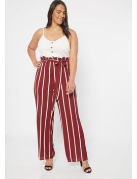 Plus Burgundy Striped Sleeveless Duo Jumpsuit by Rue21