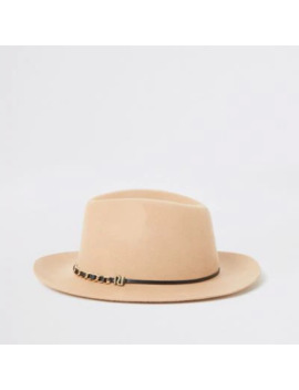 beige-chain-trim-fedora-hat by river-island