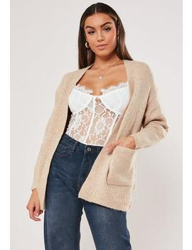 Beige Slouchy Knitted Cardigan by Missguided