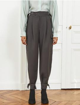 Belted Cuff Grey Pants by Pixie Market