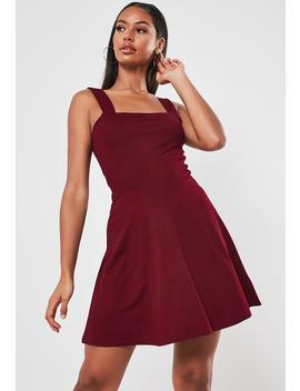 burgundy-square-neck-skater-mini-dress by missguided