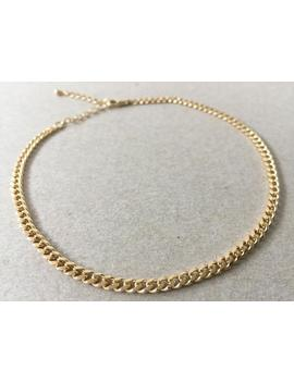 curb-chain-choker,-adjustable-thick-gold-chain,-37mm-heavy-curb-chain,-simple-chain-necklace,-minimalist-choker,-boho,-womens-gold-jewelry by etsy