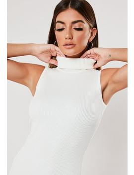 White Cowl Neck Knitted Sleeveless Midi Dress by Missguided