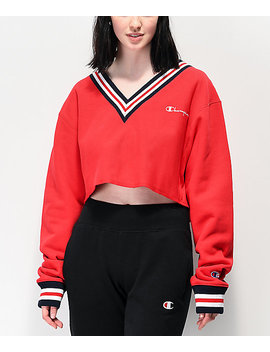 Champion Reverse Weave Red Crop V Neck Sweatshirt by Champion