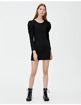 robe-maille-côtelée-à-manches-bouffantes by pull-&-bear