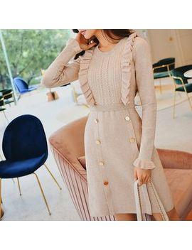 dabuwawa---ruffle-trim-long-sleeve-knit-dress by dabuwawa