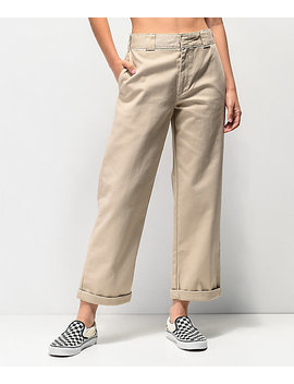 dickies-roll-hem-khaki-cropped-work-pants by dickies