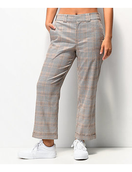 Dickies Roll Hem Brown Plaid Cropped Work Pants by Dickies