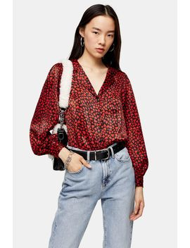 red-heart-print-shirt by topshop