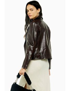 burgundy-faux-leather-crocodile-biker-jacket by topshop