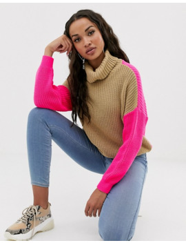 missguided-roll-neck-sweater-in-camel-with-pink-color-block by missguideds