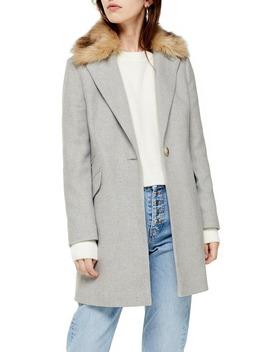 monica-faux-fur-collar-coat by topshop