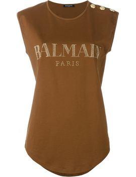 brown-button-logo-t-shirt by balmain