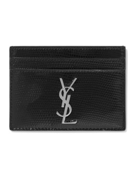 lizard-effect-glossed-leather-cardholder by saint-laurent