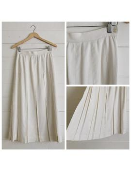 linen-pleated-white-midi-skirt-by-talbots---size:-4 by etsy