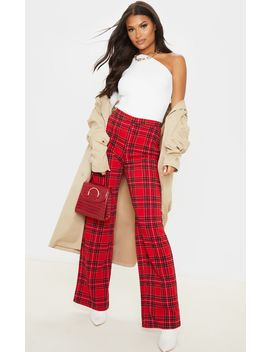 red-tartan-wide-leg-pants by prettylittlething