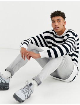 asos-design-tall-knitted-ribbed-sweater-with-black-and-white-stripe by asos-design