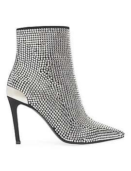 embellished-stretch-suede-&-leather-ankle-boots by balmain