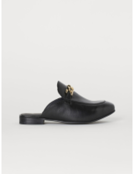 women-black-leather-slip-on-mules by h&m