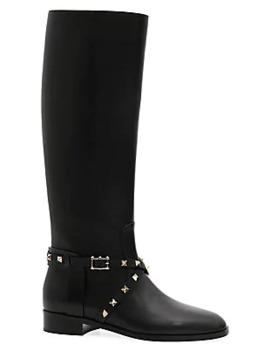 rockstud-leather-riding-boots by valentino-garavani