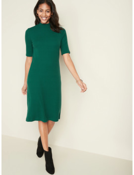 mock-neck-rib-knit-tee-dress-for-women by old-navy