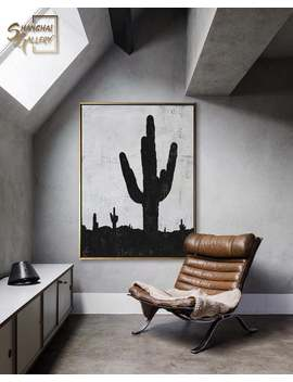 extra-large-cactus-oil-painting,-minimalist-desert-black-&-white-wall-art,-unique-abstract-painting,-art-gallery,-design-collection by etsy