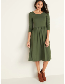 fit-&-flare-scoop-neck-midi-dress-for-women by old-navy