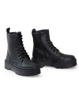 ladies-hi-top-military-punk-ankle-pu-leather-patent-lace-up-vintage-boots by ebay-seller