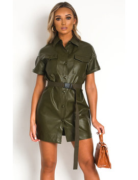 Bex Faux Leather Mini Dress In Khaki by Ikrush