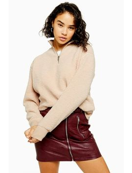 petite-stone-textured-zip-up-funnel-neck-sweatshirt by topshop