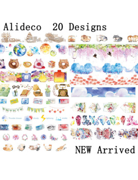 alideco-1-pcs-diy-paper-japanese-washi-masking-tapes-planet-alice-cat-dogs-decoration-adhesive-tapes-scrapbooking-stickers-5m by aliexpresscom