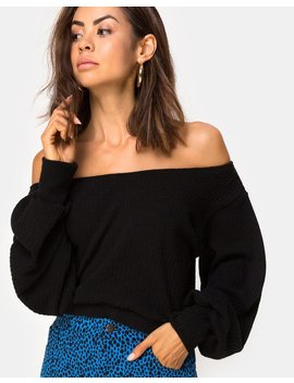 Saray Off The Shoulder Jumper In Black Knit By Motel by Motel