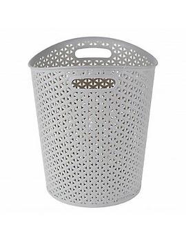 faux-rattan-waste-paper-basket-grey-13l by lakeland