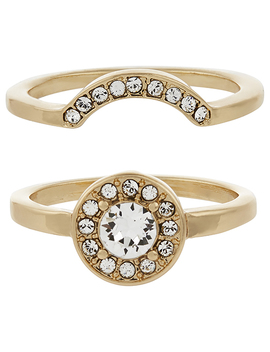 2x Interlocking Rings With Swarovski® Crystals by Accessorize