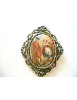 lavender-seller,-vintage-ornate-frame-pastoral-scene-brooch,-brooch-victorian-style,-vintage-courting-couple-cameo,romantic-porcelain-brooch by etsy