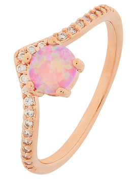 Rose Gold Wishbone Opal Ring by Accessorize
