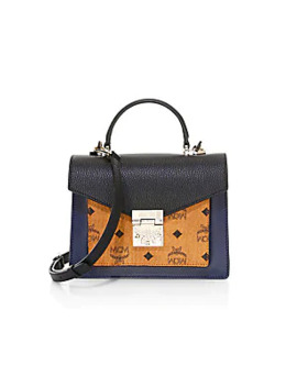 small-patricia-visetos-leather-satchel by mcm