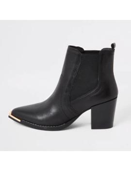 Zwarte Leren Western Chelsea Boots by River Island