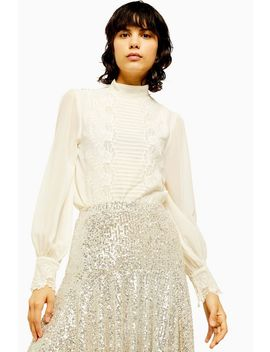 idol-embroidered-cutwork-blouse by topshop