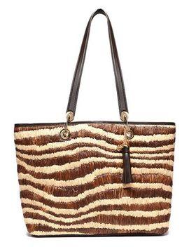tasseled-leather-trimmed-zebra-print-raffia-tote by michael-michael-kors