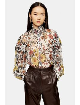 idol-double-ruffle-floral-print-blouse by topshop