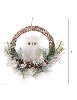 holiday-time-white-owl-christmas-wreath,-18-in by holiday-time