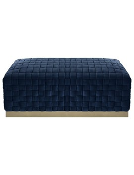 Nicole Miller Nirin Velvet Bench, Hand Woven/Steel Base, Navy/Gold by Inspired Home